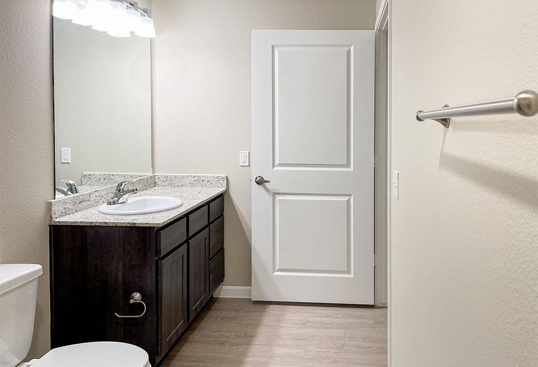 Spacious Bathrooms at Gala at Texas Parkway Apartments in Missouri City, Texas