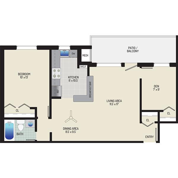 Gateway Square Apartments - Floorplan - 1 Bedroom + 1 Bath