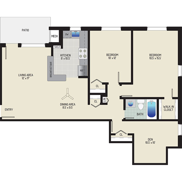Gateway Square Apartments - Floorplan - 2 Bedrooms + 1 Bath