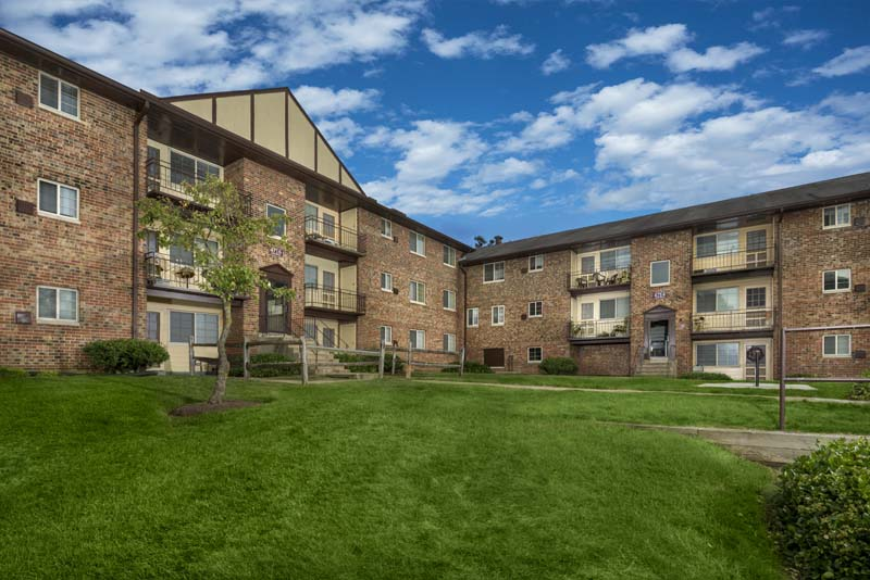 Green courtyards at Gateway Square Apartments in Temple Hills, MD