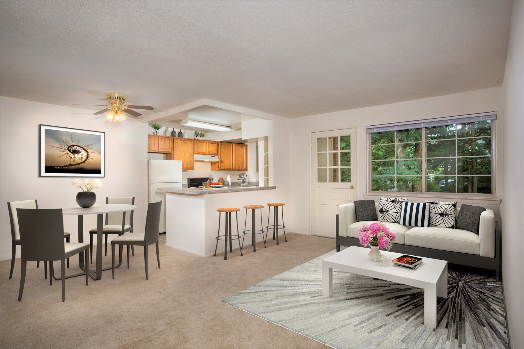 Spacious living and dining area at Gateway Square Apartments in Temple Hills, MD