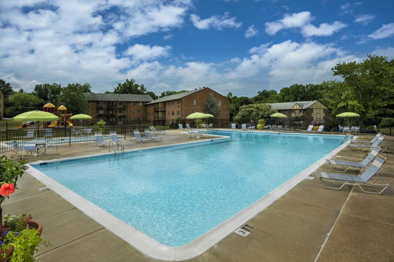 Relaxing swimming pool at Gateway Square Apartments in Temple Hills, MD