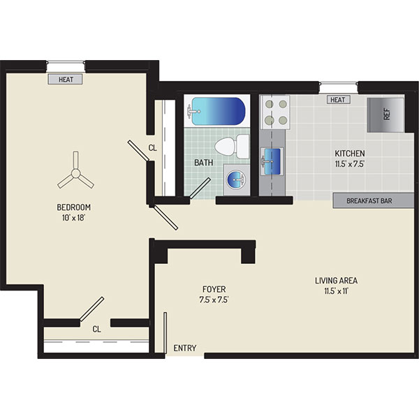 Goodacre & Pine Ridge Apartments - Floorplan - 1 Bedroom + 1 Bath