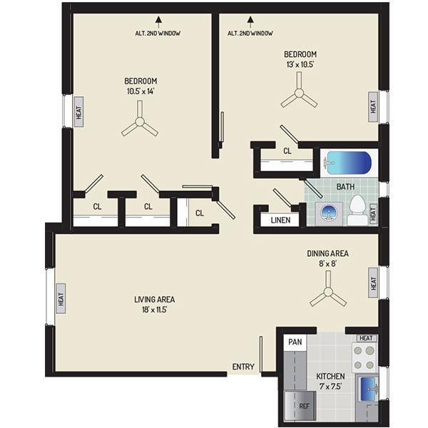 Goodacre & Pine Ridge Apartments - Floorplan - 2 Bedrooms + 1 Bath
