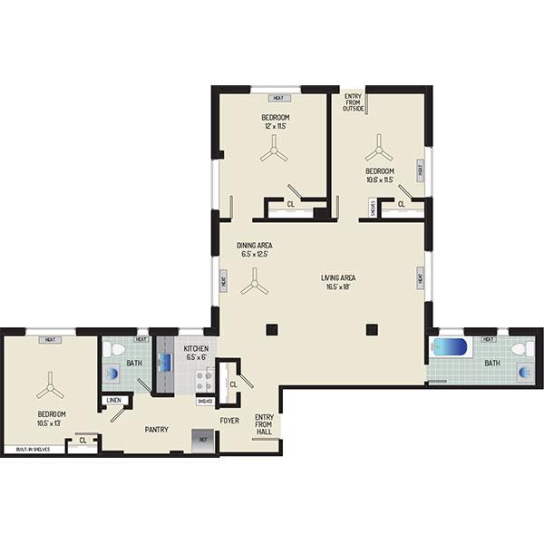 Floorplan - 3 Bedrooms + 1.5 Baths image