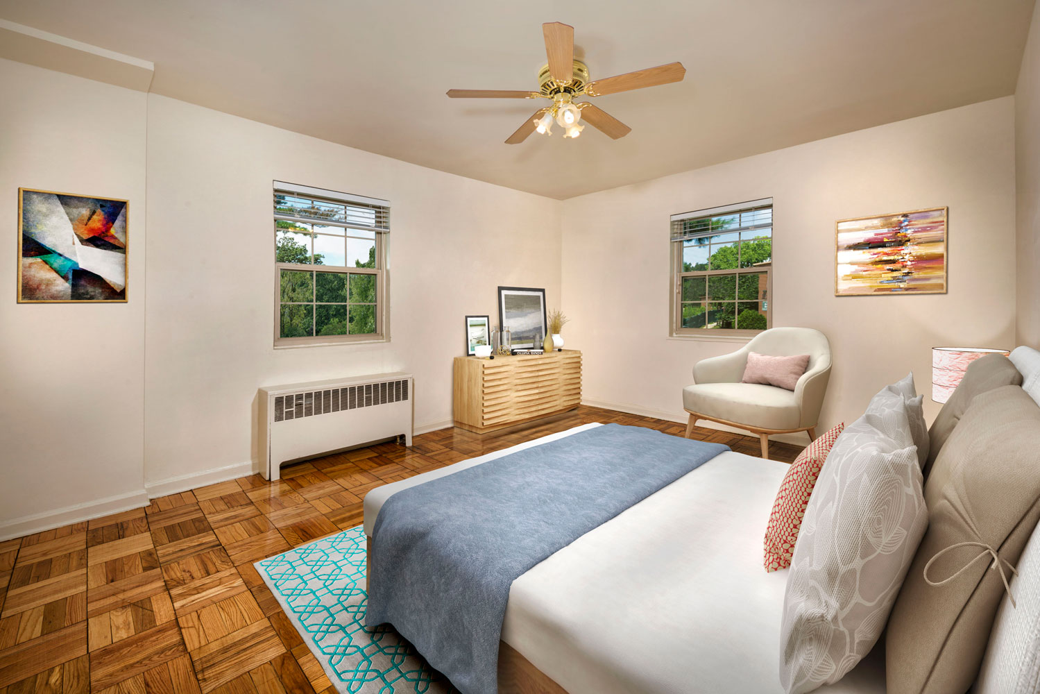 Cozy bedroom at Goodacre & Pine Ridge Apartments in Silver Spring, MD
