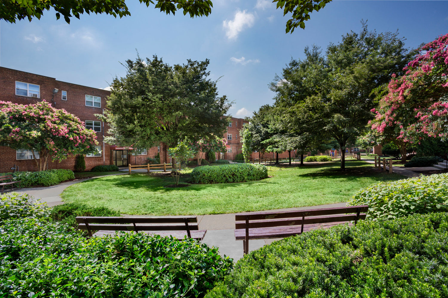 Beautiful courtyards at Goodacre & Pine Ridge Apartments in Silver Spring, MD