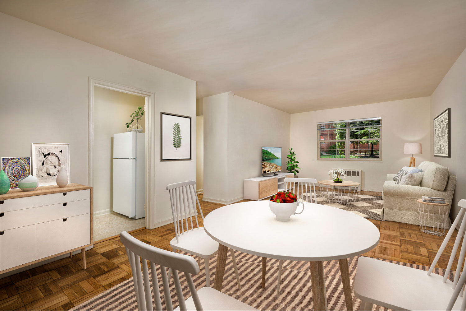 Relaxing living & dining area at Goodacre & Pine Ridge Apartments in Silver Spring, MD