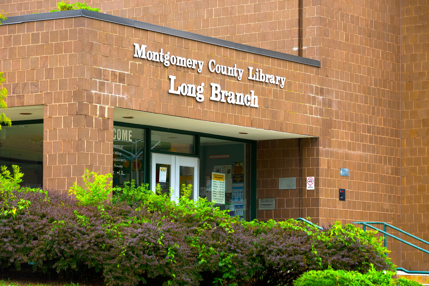 Montgomery County Long Branch Library across the street from Goodacre & Pine Ridge Apartments