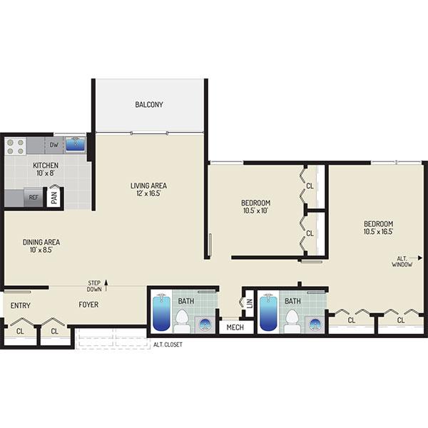 Governor Square Apartments - Floorplan - 2 Bedrooms +  2 Baths