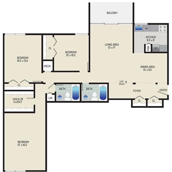 Governor Square Apartments - Floorplan - 3 Bedrooms + 2 Baths