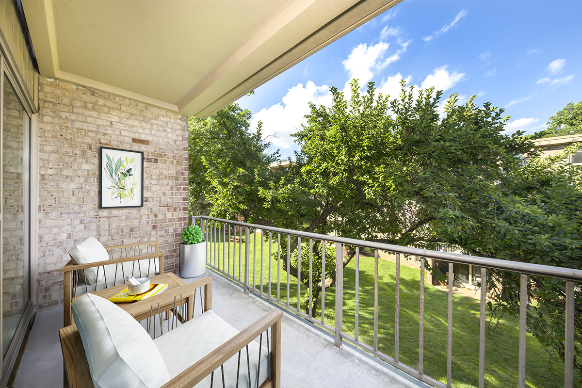 Spacious, relaxing balcony with beautiful views at Governor Square Apartments