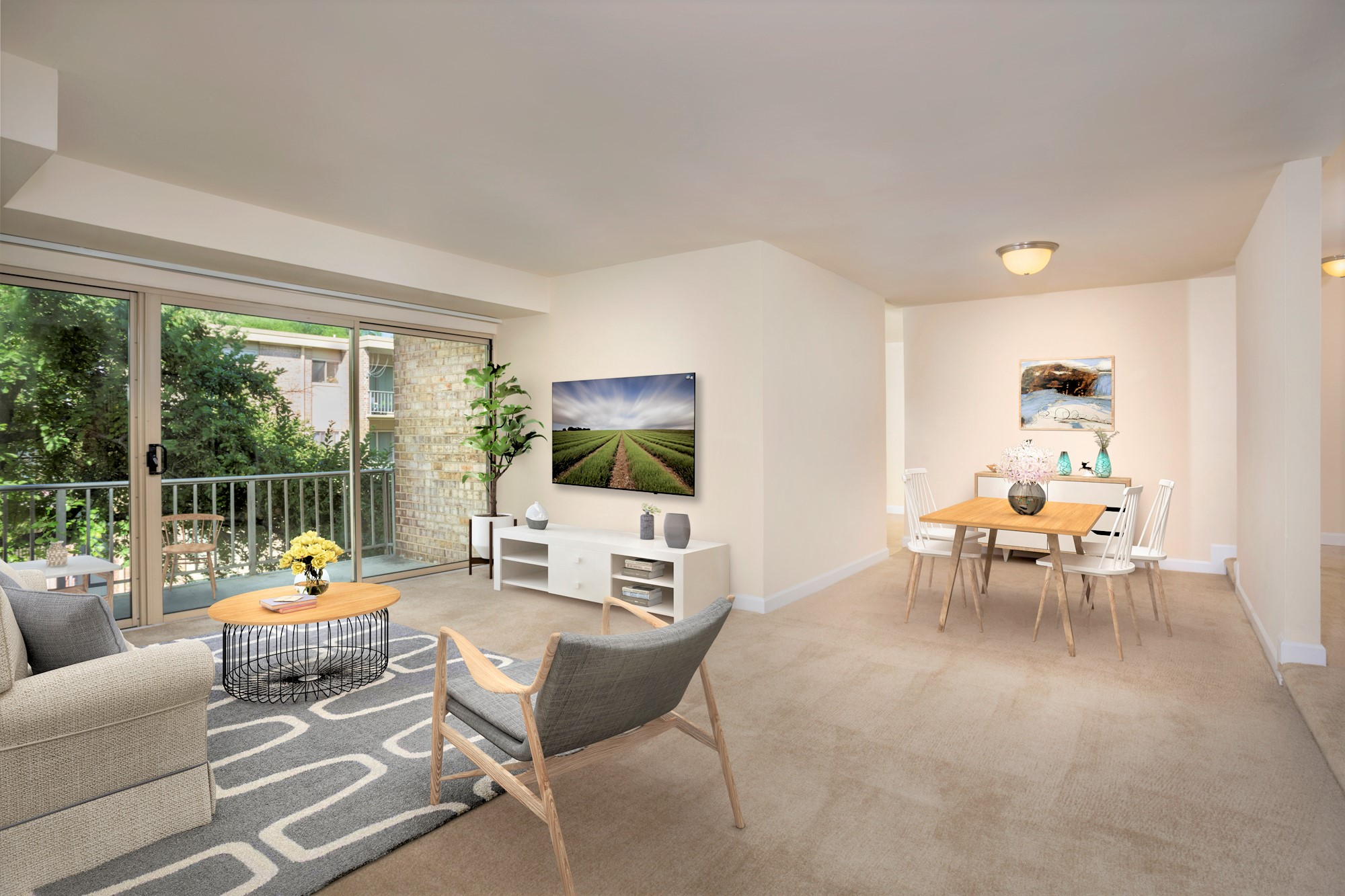 Spacious living and dining area at Governor Square Apartments in Gaithersburg, MD