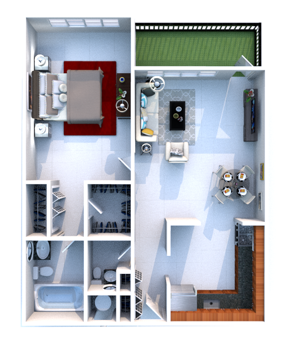 Grand Island Square - Floorplan - 1 Bedroom