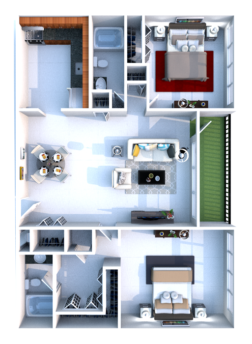 Floorplan - 2 Bedrooms image