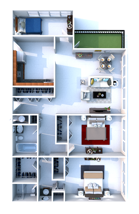 Floorplan - 3 bedrooms image
