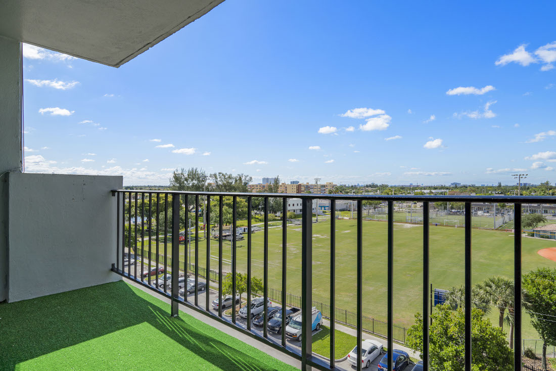 Balcony Area  at Grand Island Square Apartments in North Miami Beach, Florida