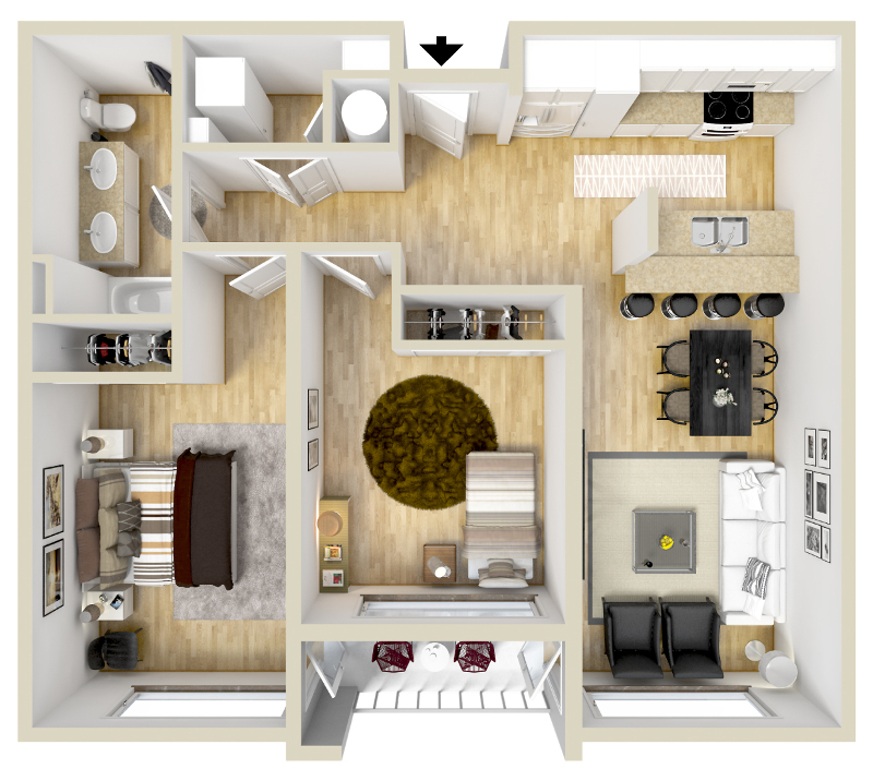 GreenArch Apartments Tulsa - Floorplan - Archer Balcony