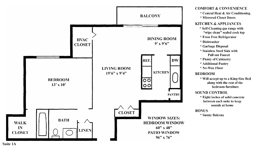 Informative Picture of 1A (1 Bedroom 1 Bath)