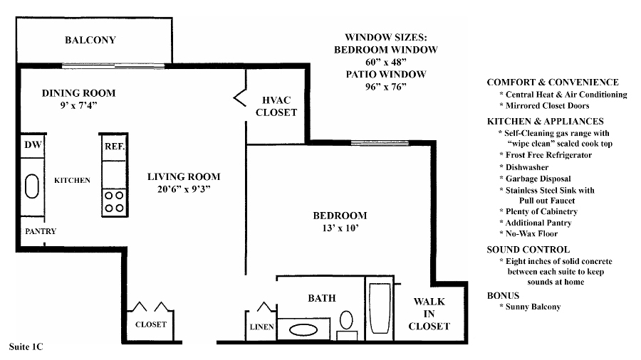 Informative Picture of 1C (1 Bedroom 1 Bath)