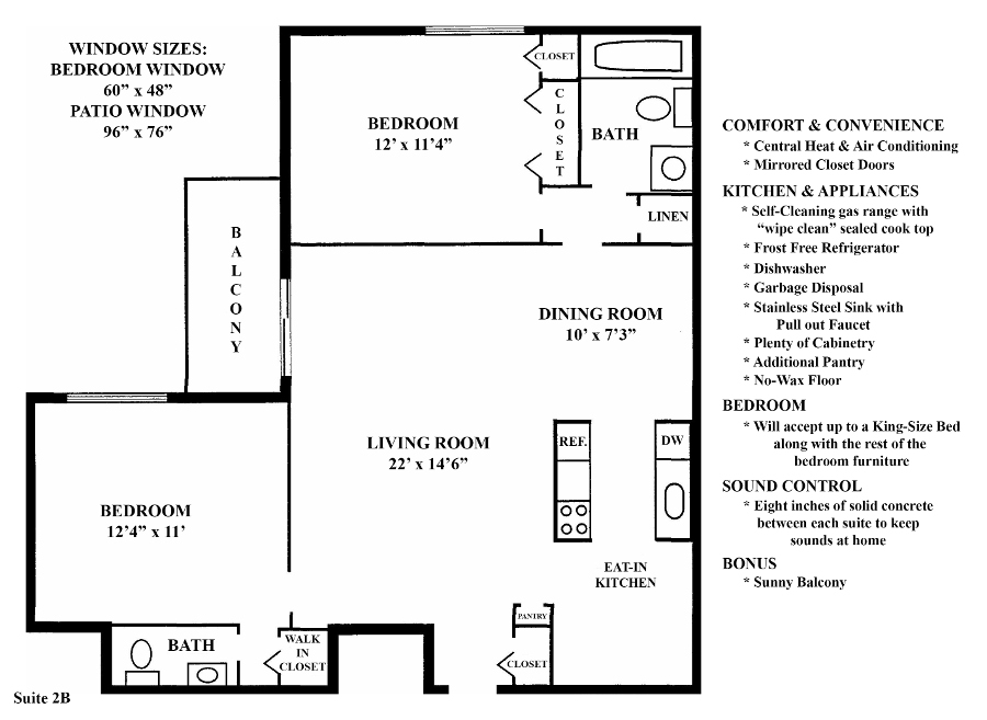 Informative Picture of 2B (2 Bedroom 1.5 Bath)