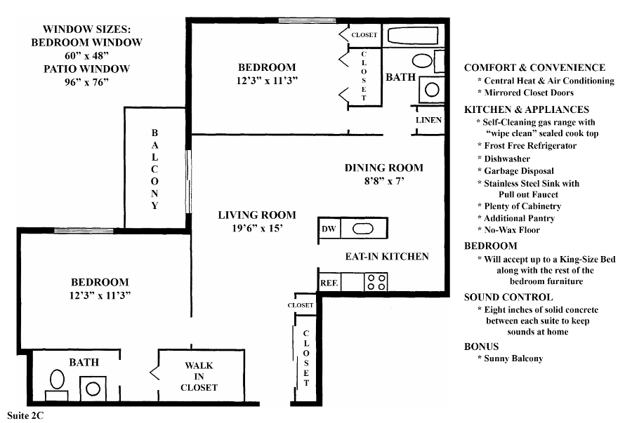 Informative Picture of 2C (2 Bedroom 1.5 Bath)