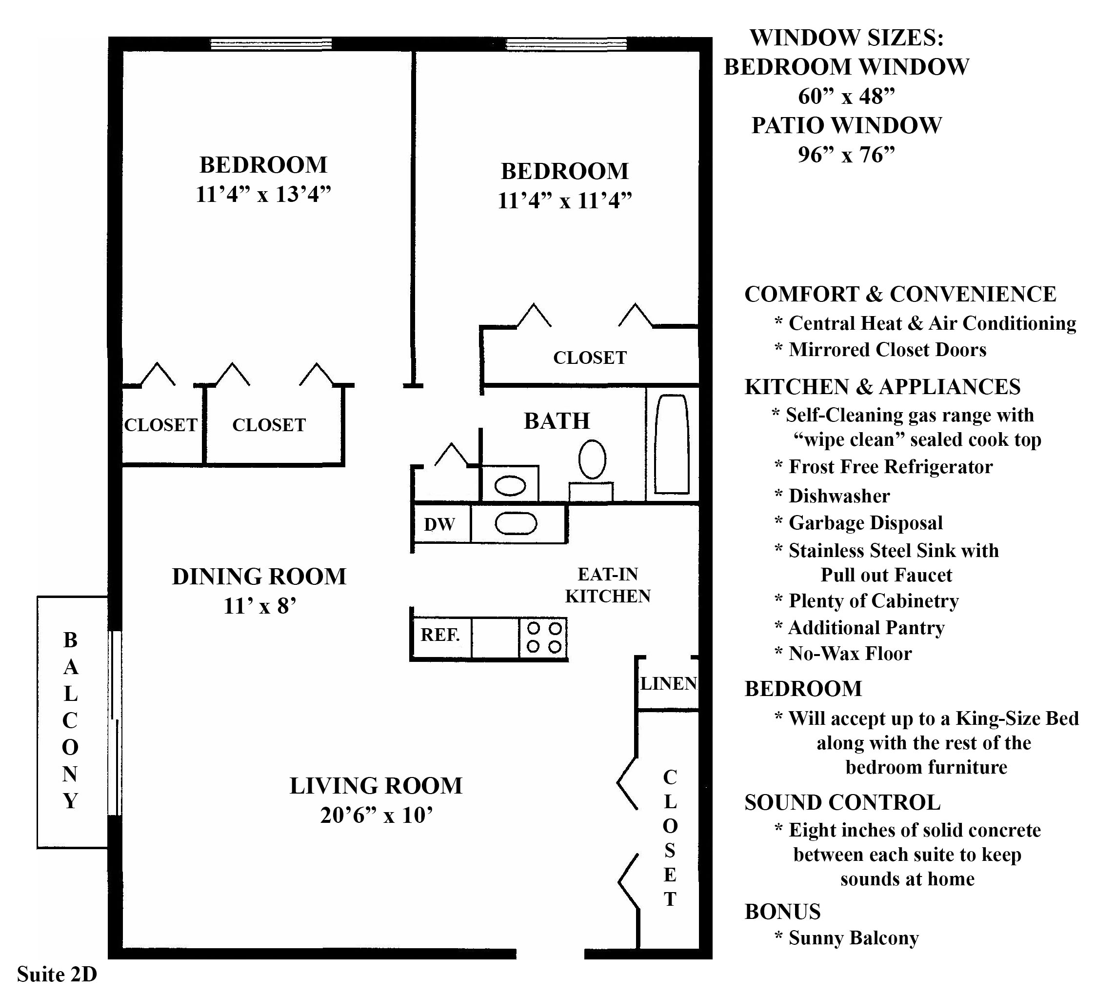 Greenridge on Euclid - Floorplan - 2D (2 Bedroom 1 Bath)