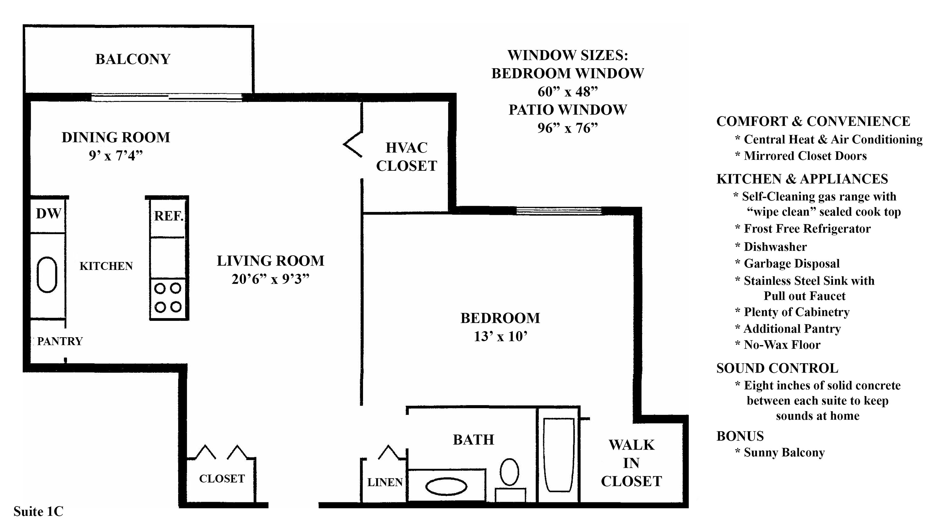 1C Floorplan at the Greenridge on Euclid Apartments in Euclid, OH