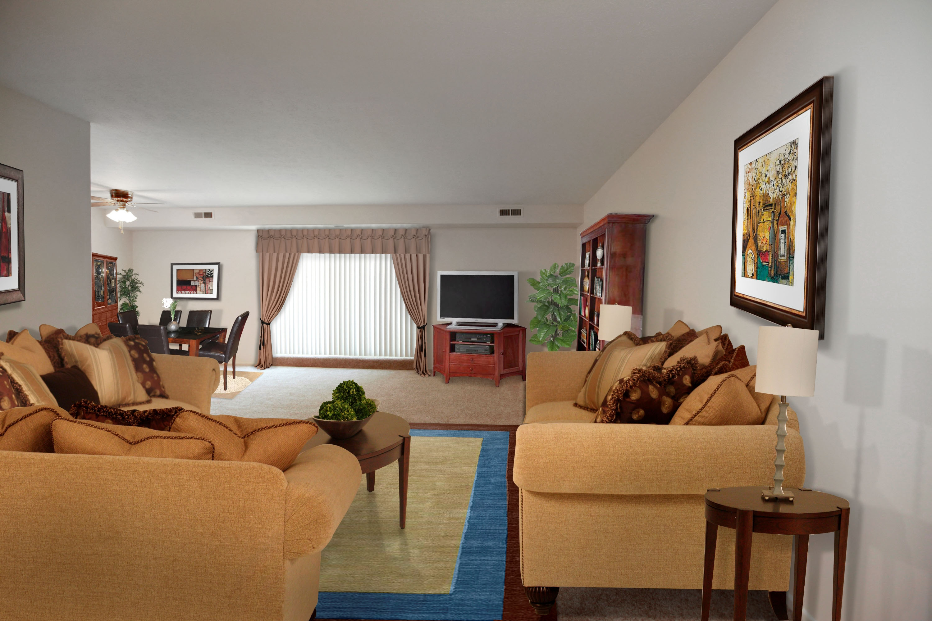 2A Living Room Furnished at the Greenridge on Euclid Apartments in Euclid, OH