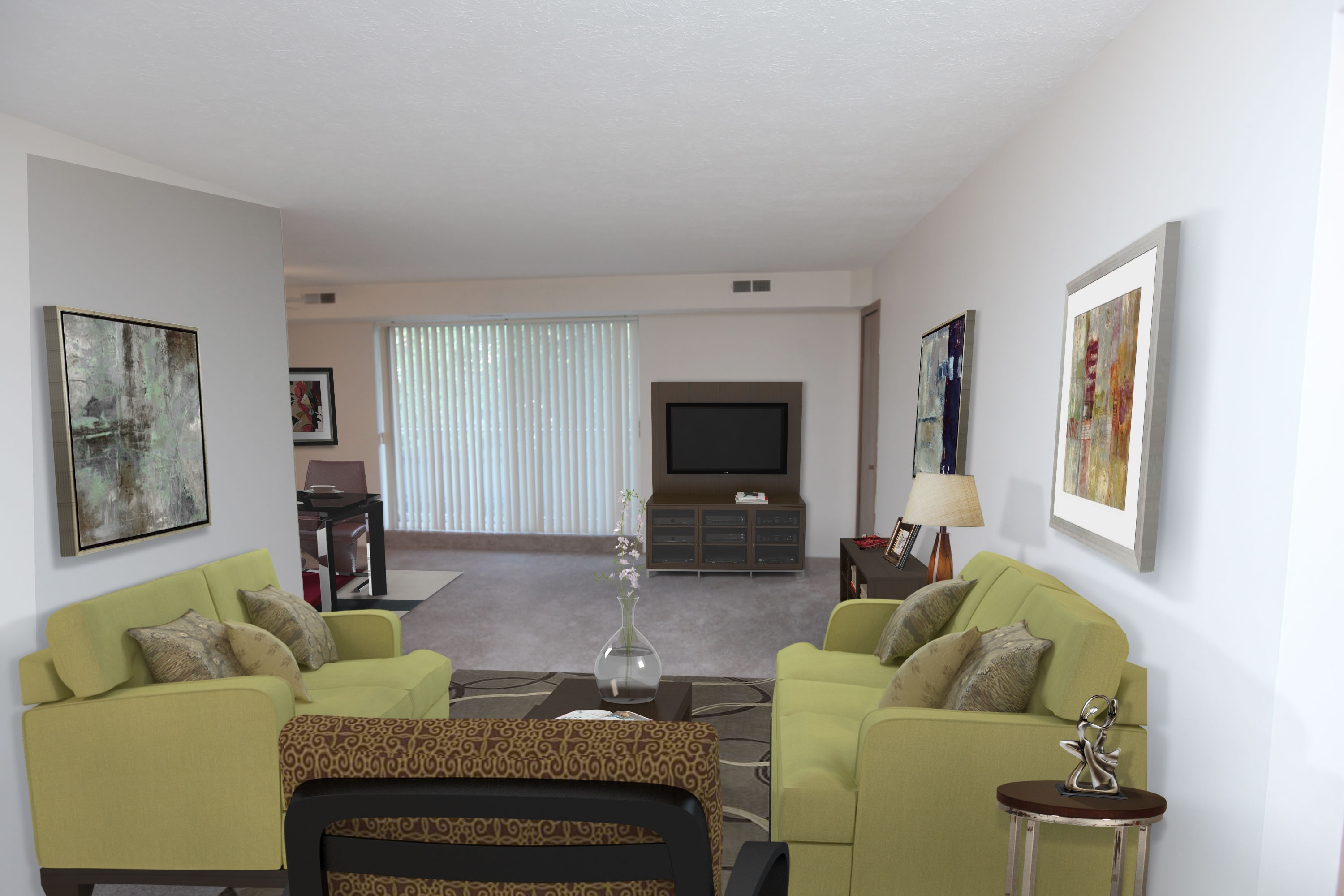 1B Living Room Furnished at the Greenridge on Euclid Apartments in Euclid, OH
