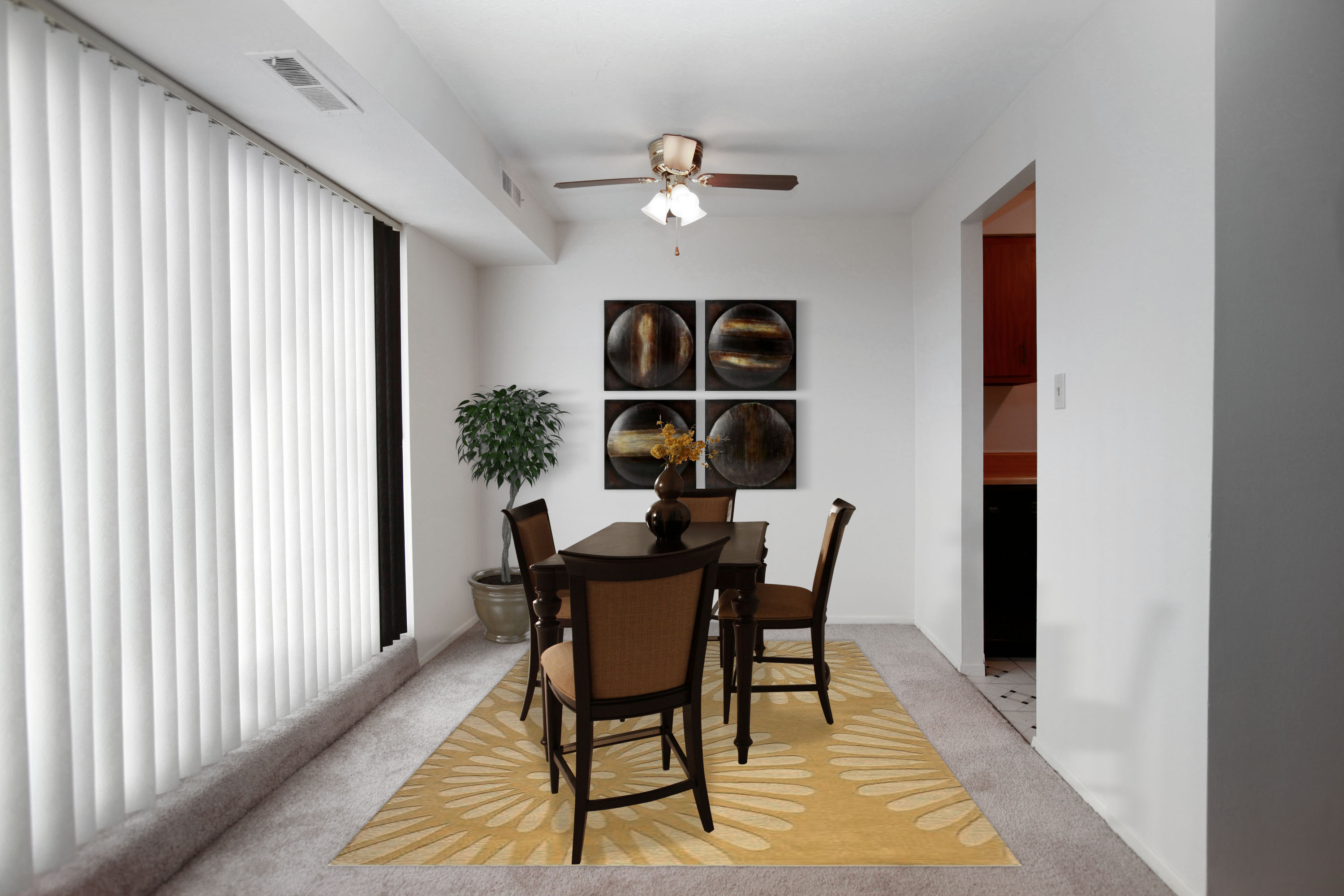 1A Dining Room Furnished at the Greenridge on Euclid Apartments in Euclid, OH