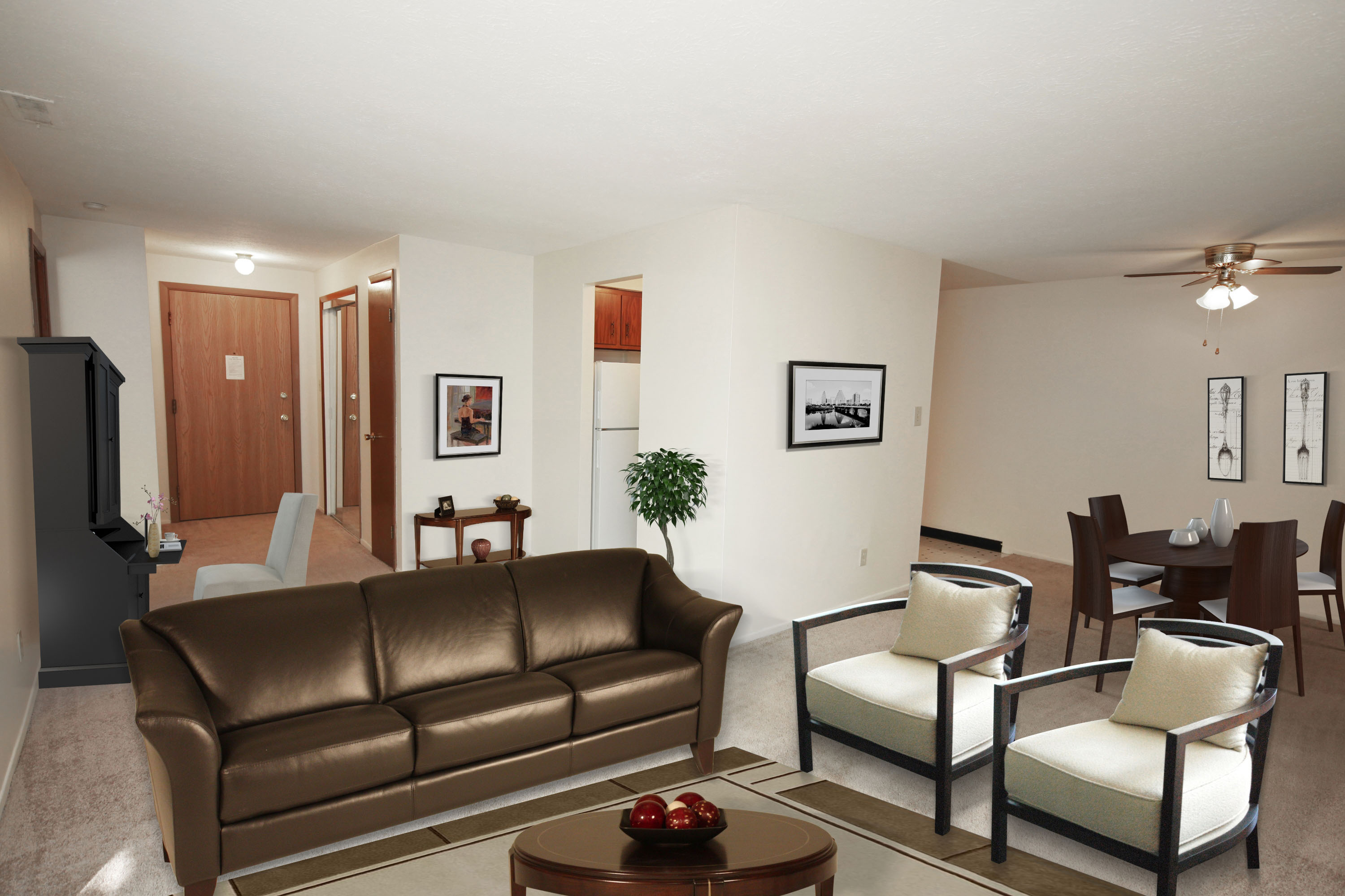 2C Living Room Furnished at the Greenridge on Euclid Apartments in Euclid, OH
