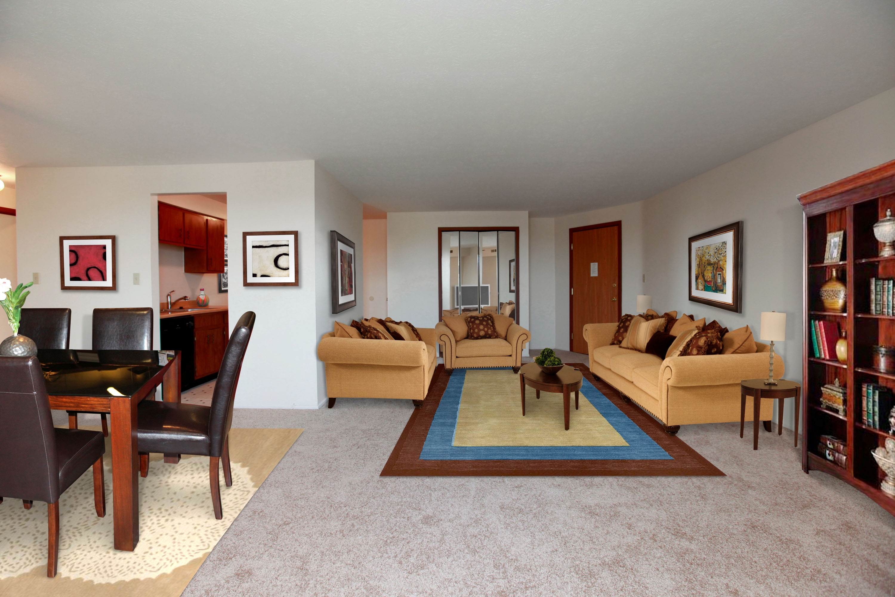 2D Living Room Furnished at the Greenridge on Euclid Apartments in Euclid, OH