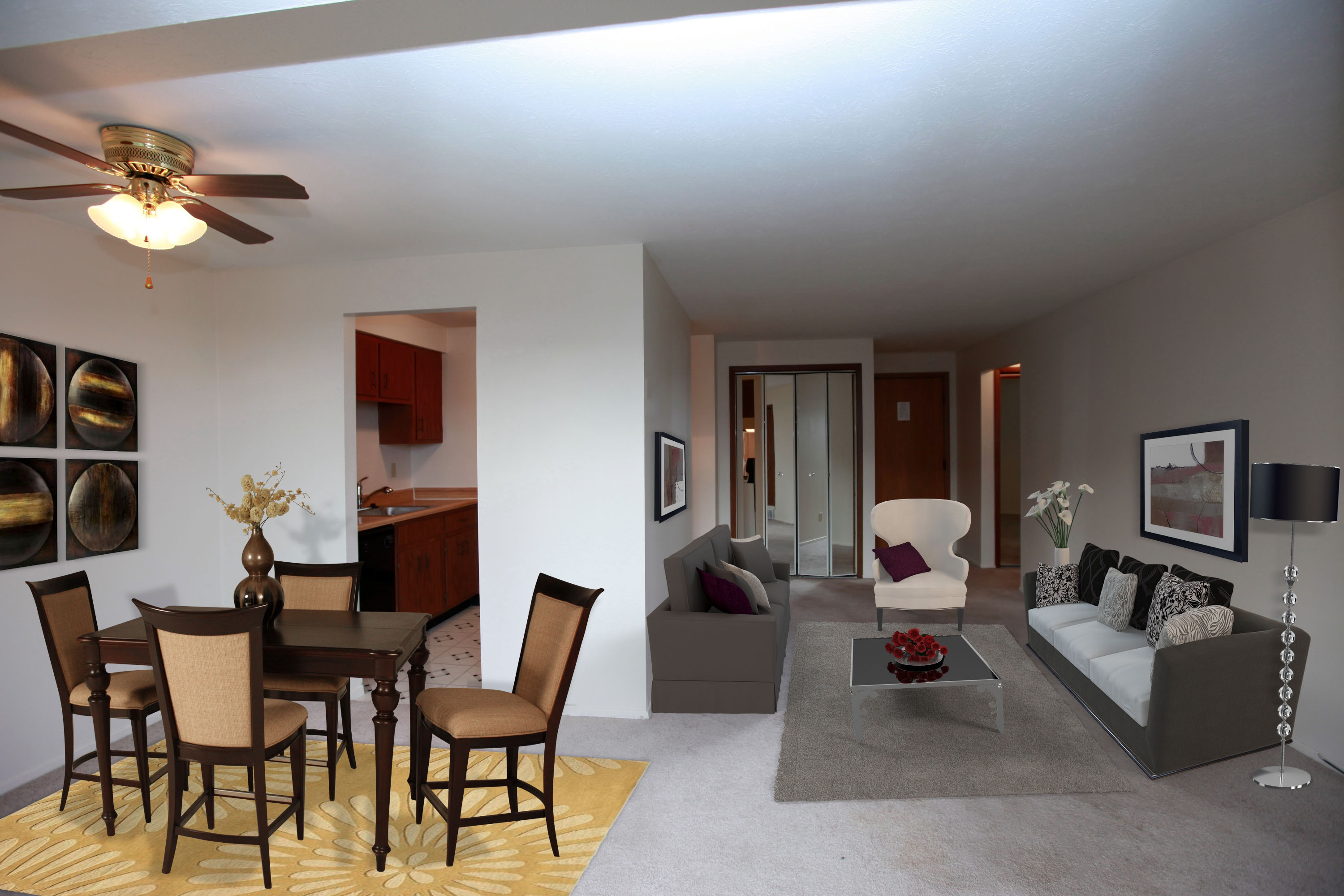 1A Living Room Furnished at the Greenridge on Euclid Apartments in Euclid, OH