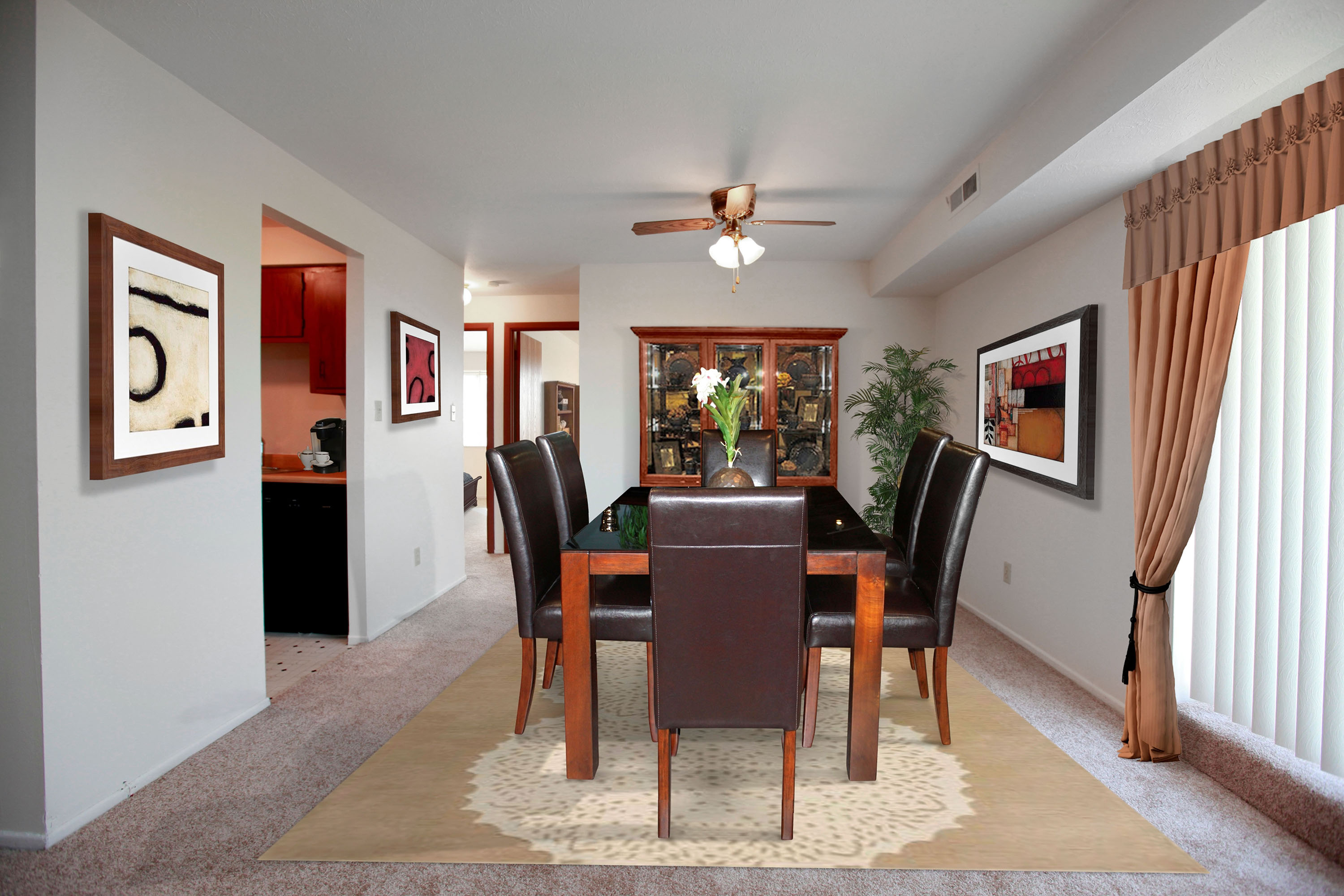 2A Dining Room Furnished at the Greenridge on Euclid Apartments in Euclid, OH