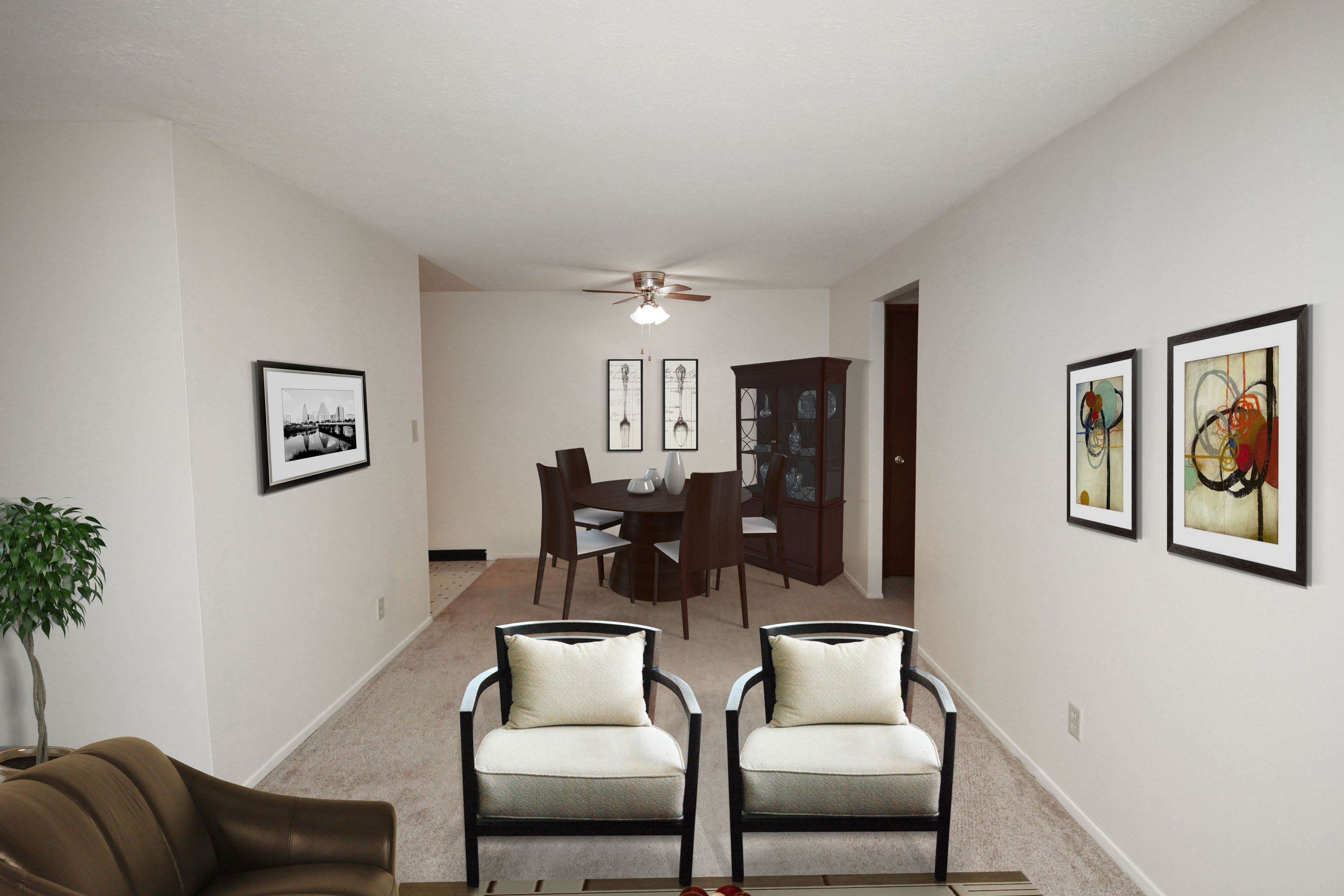 2C Living / Dining Room Furnished at the Greenridge on Euclid Apartments in Euclid, OH