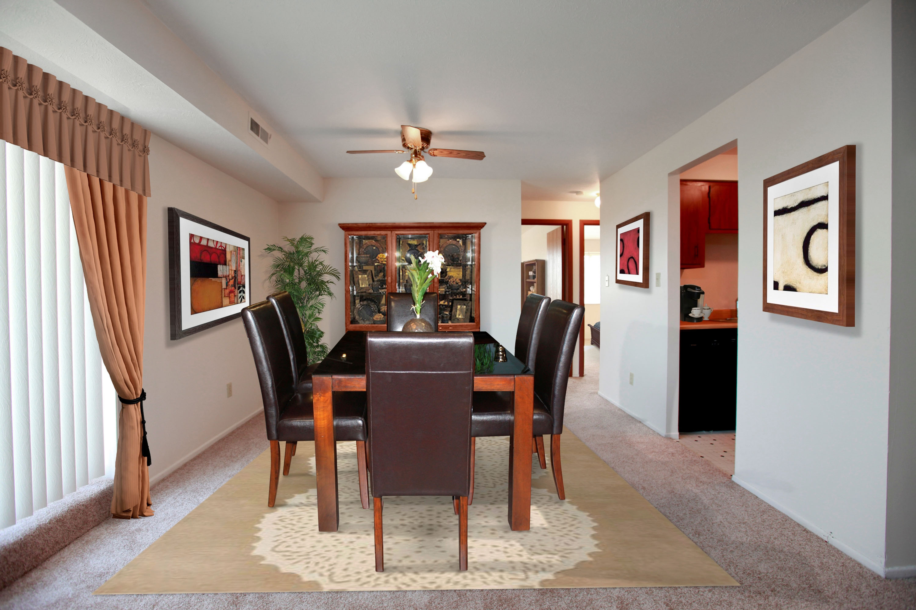 2D Dining Room Furnished at the Greenridge on Euclid Apartments in Euclid, OH
