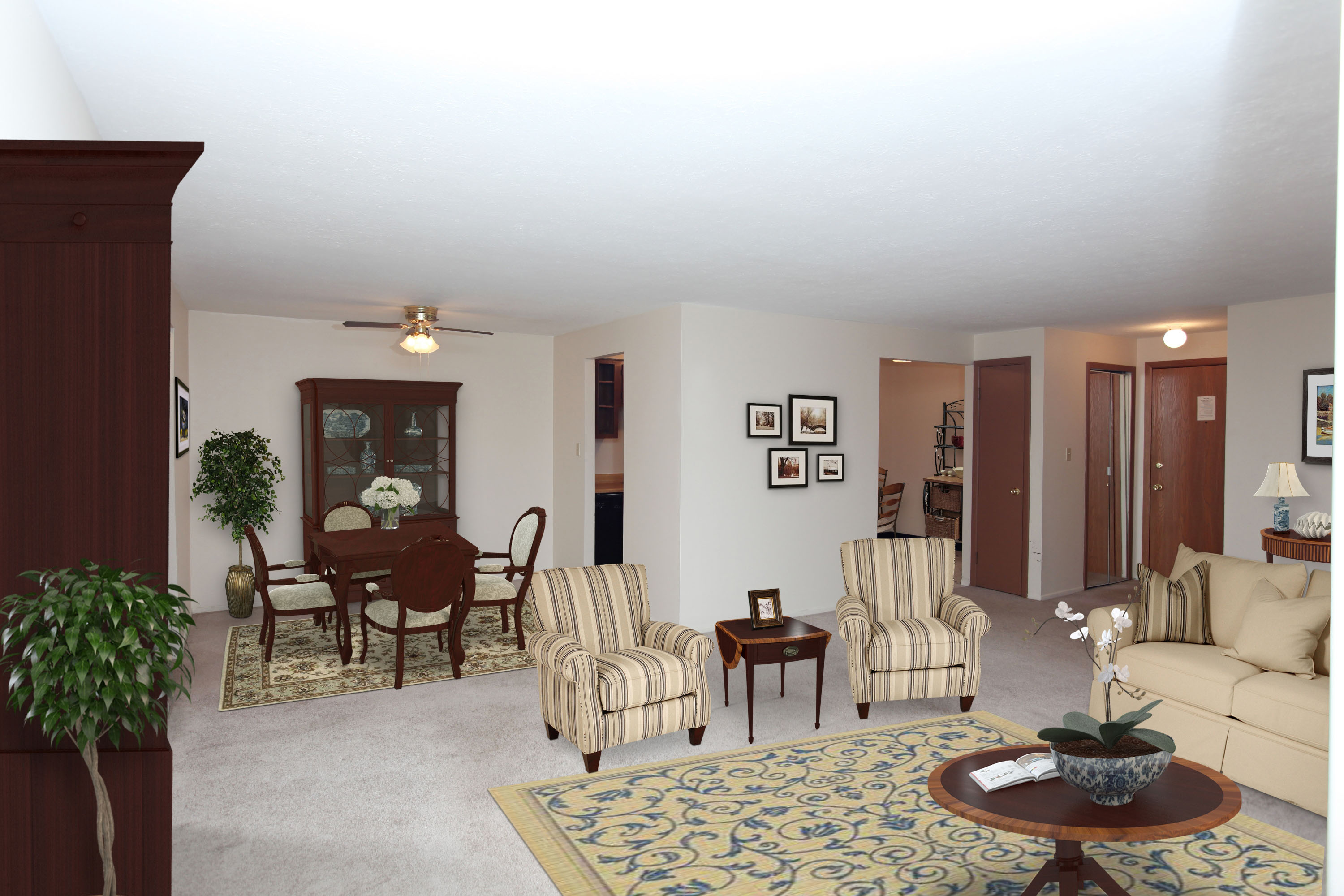 2B Living / Dining Room Furnished at the Greenridge on Euclid Apartments in Euclid, OH