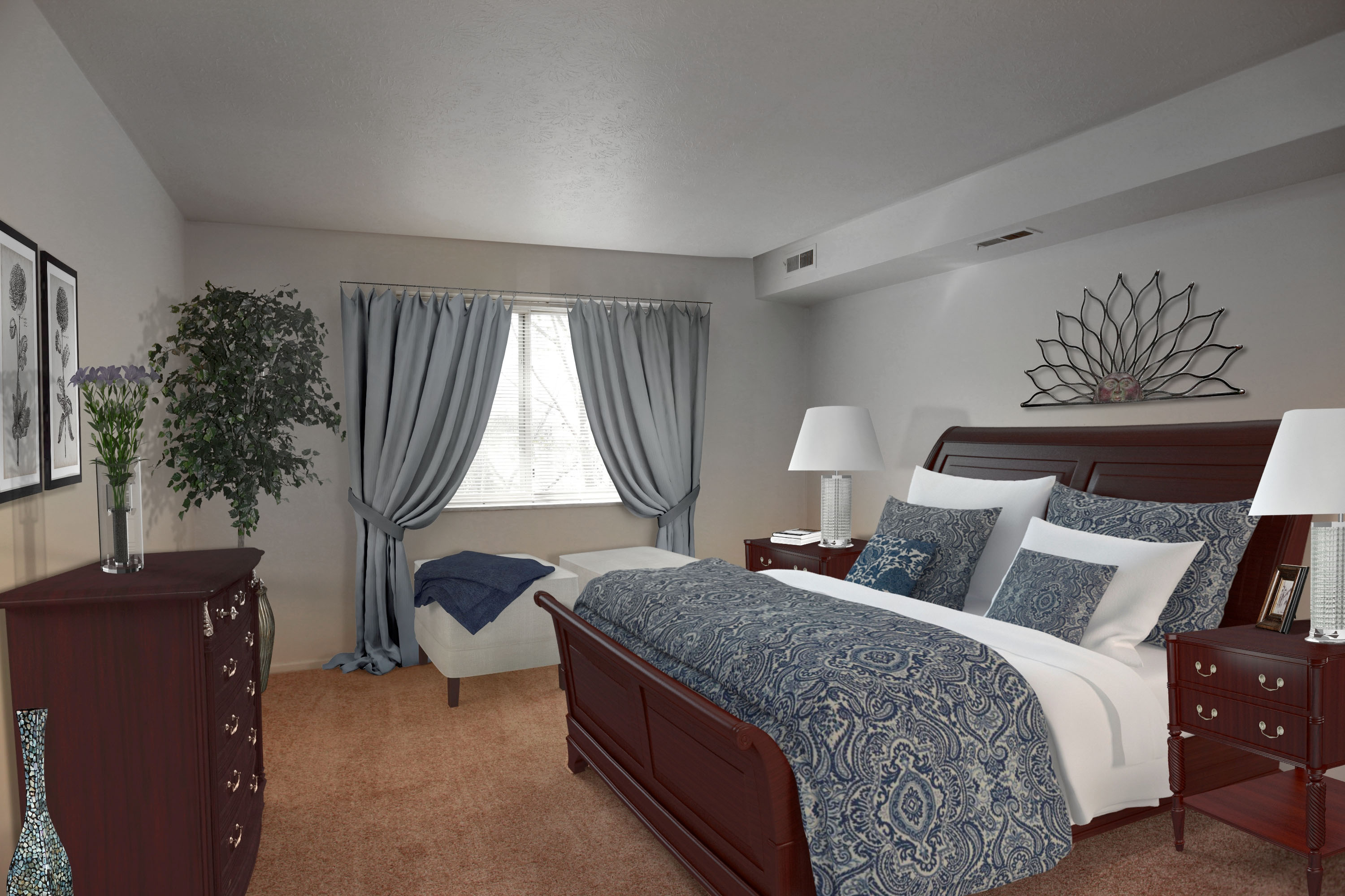 2A Bedroom #1 Furnished at the Greenridge on Euclid Apartments in Euclid, OH
