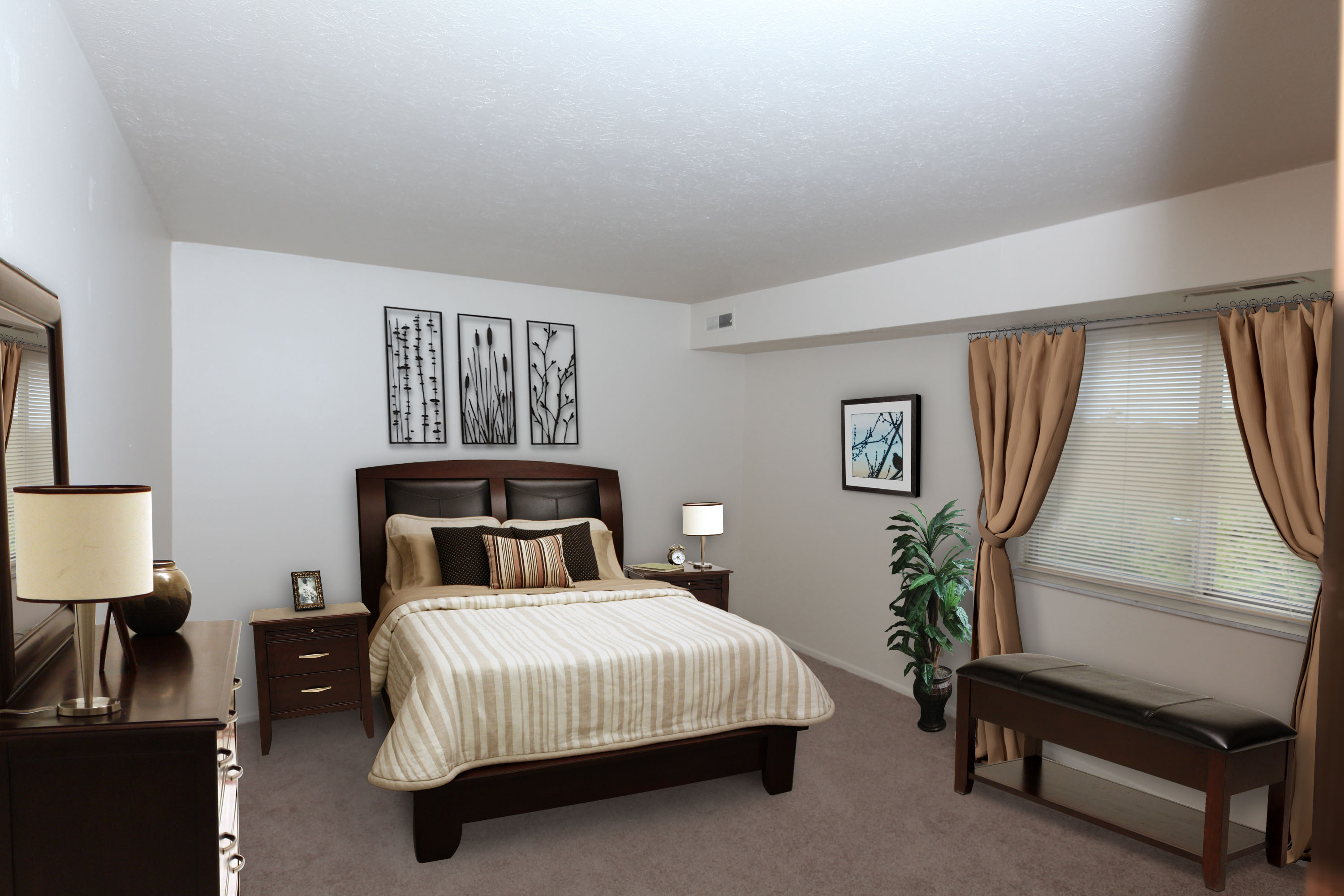2B Bedroom #2 Furnished at the Greenridge on Euclid Apartments in Euclid, OH