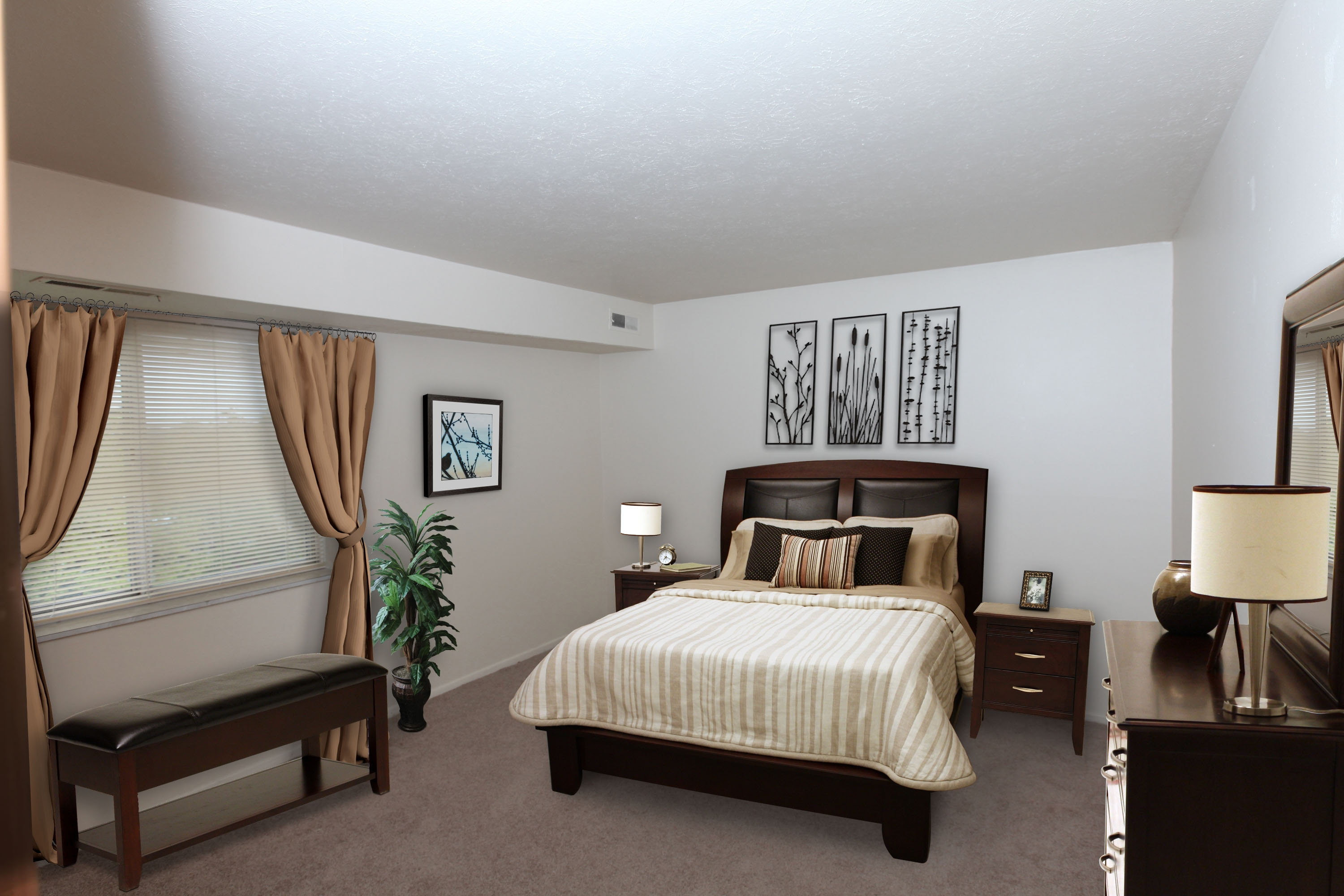 2C Bedroom #2 Furnished at the Greenridge on Euclid Apartments in Euclid, OH