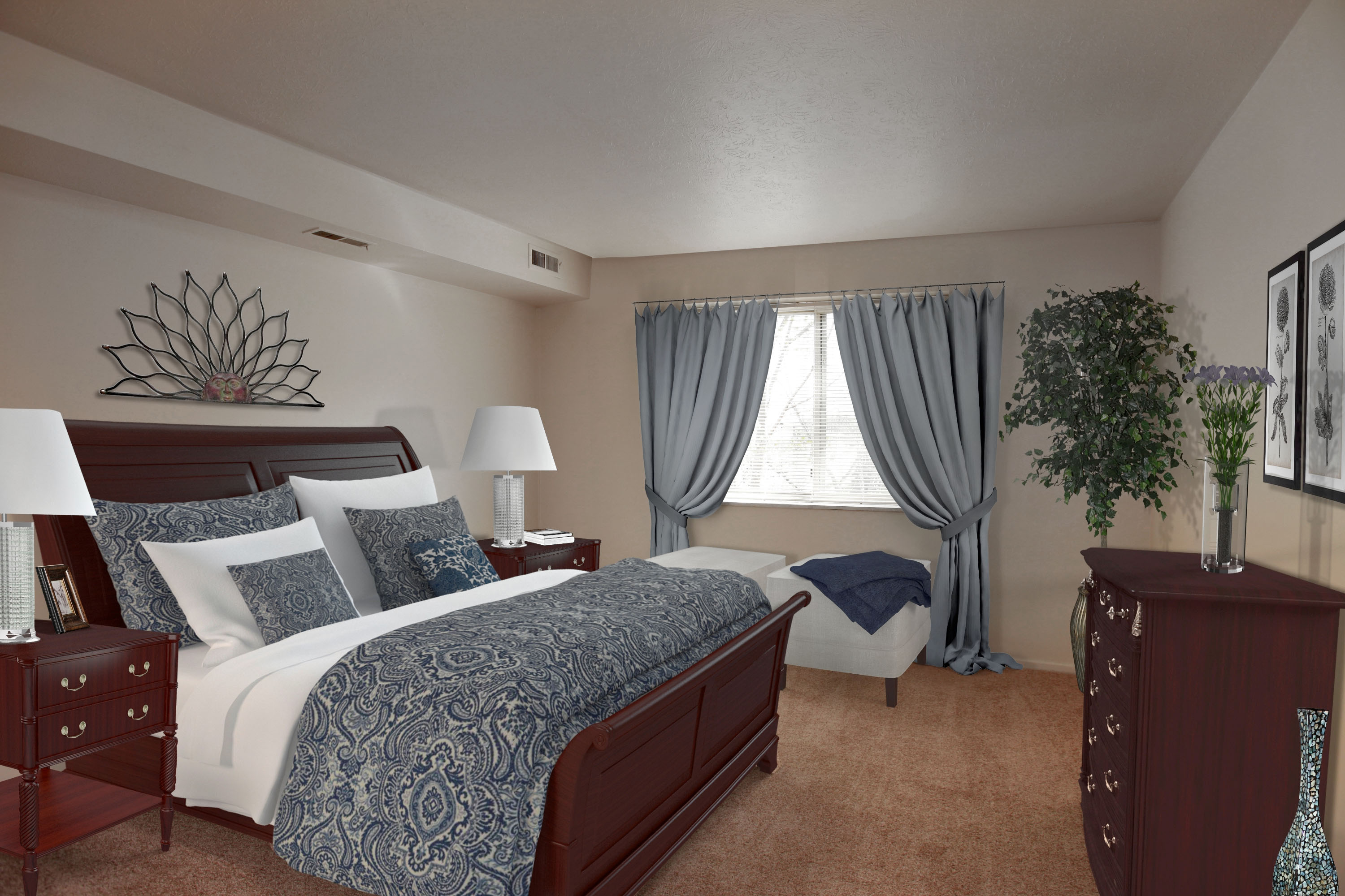 2D Bedroom #1 Furnished at the Greenridge on Euclid Apartments in Euclid, OH