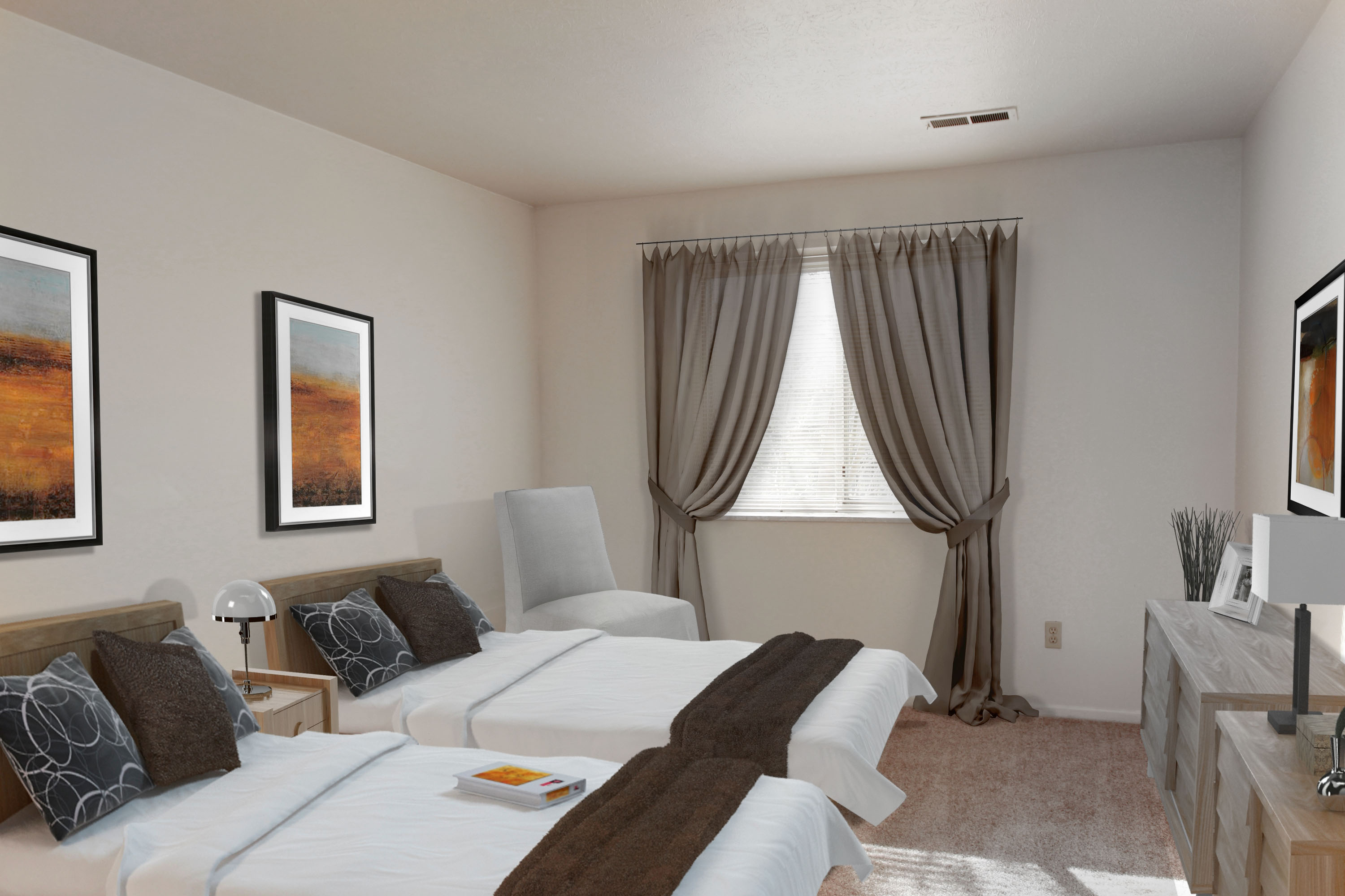 2A Bedroom #2 Furnished at the Greenridge on Euclid Apartments in Euclid, OH