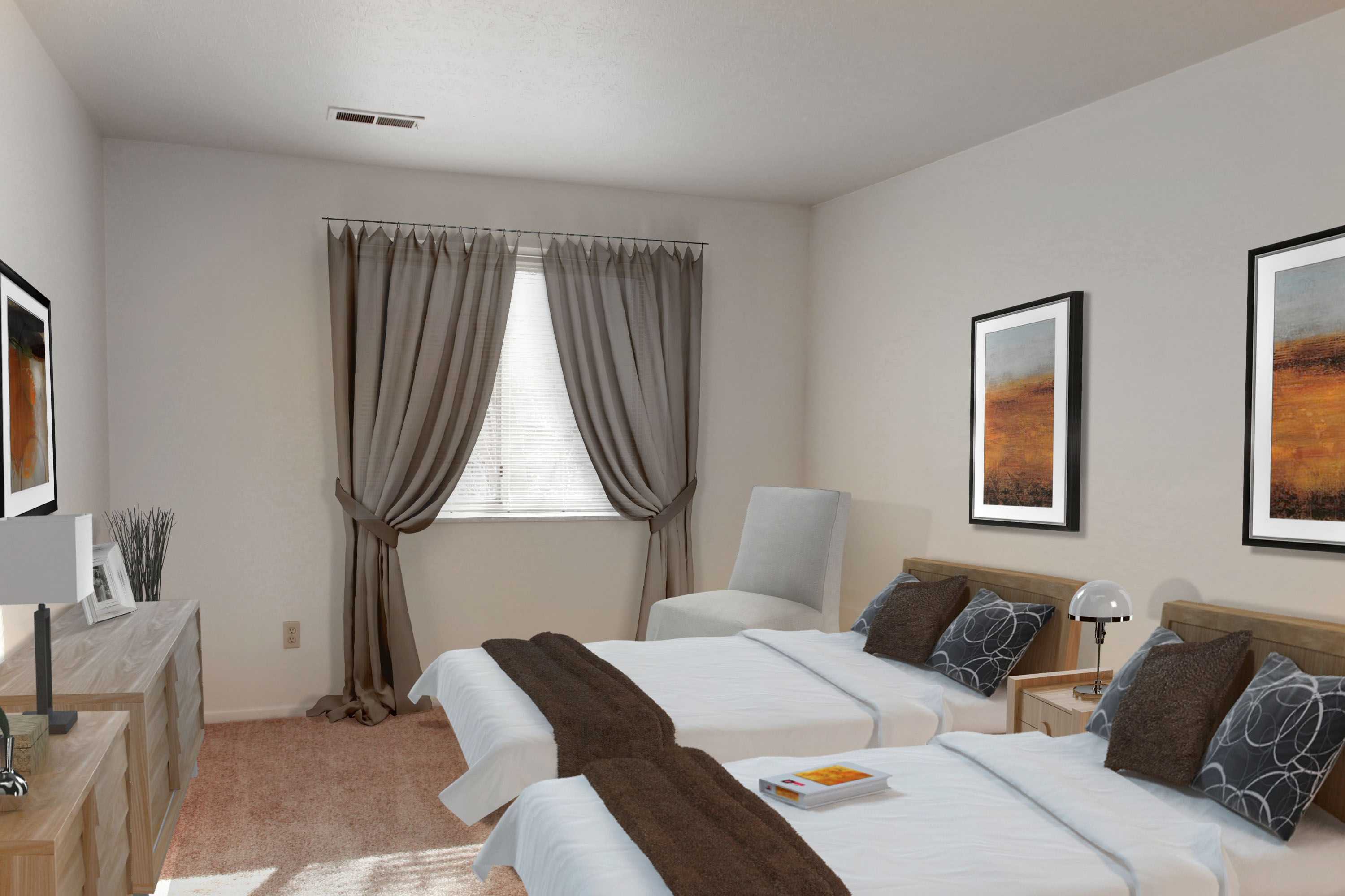 2D Bedroom #2 Furnished at the Greenridge on Euclid Apartments in Euclid, OH