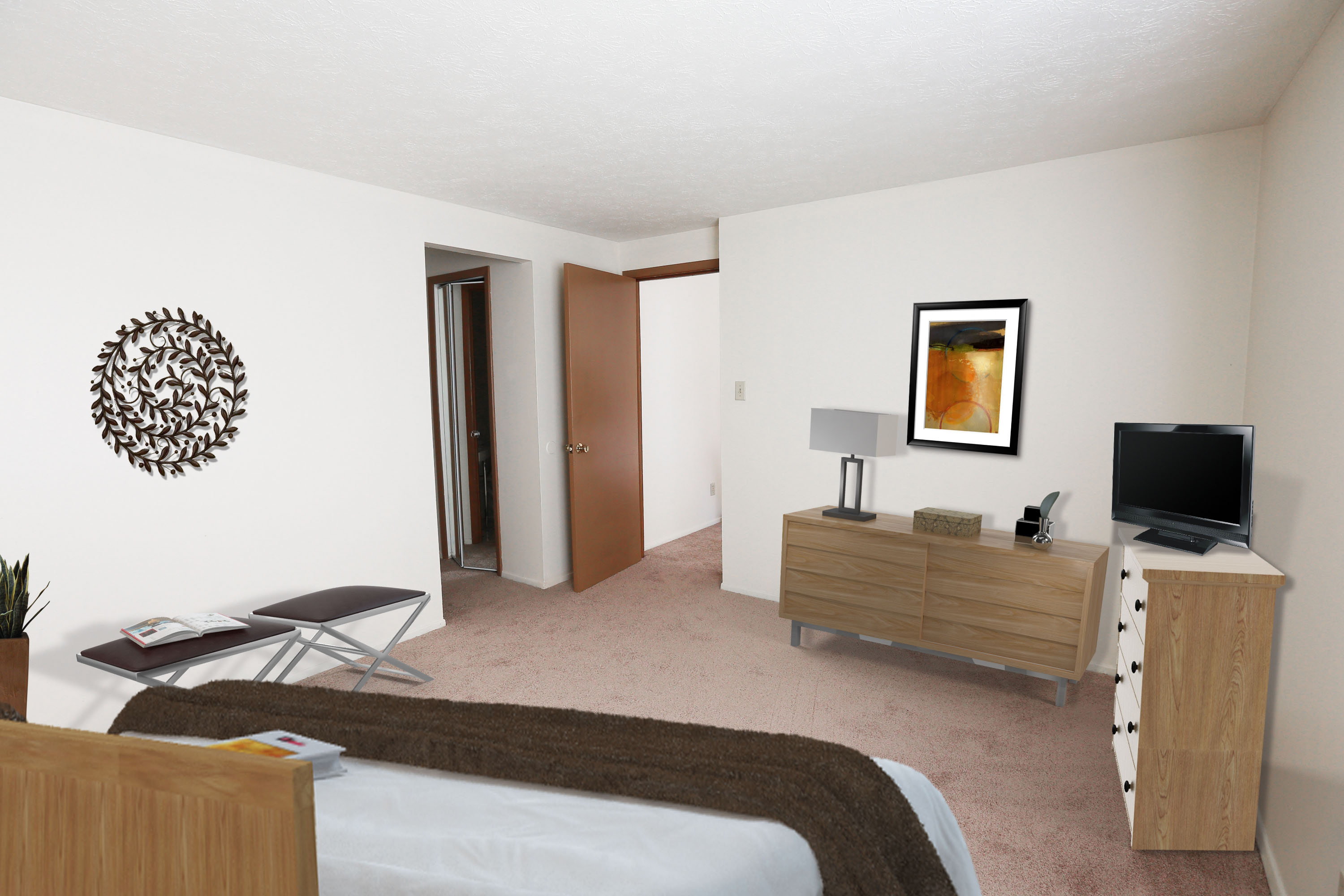 2C Bedroom #1 Furnished at the Greenridge on Euclid Apartments in Euclid, OH