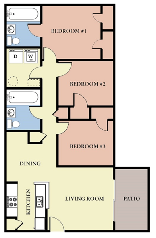 Greens At Stonecreek Apartments - Floorplan - 3 Bedroom - B