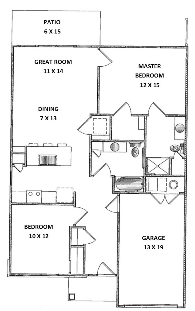 Floorplan - 2 Bed 2 Bath, Ranch (A Townhouse) image