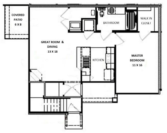 Green Wood Park Townhouses and Apartments - Floorplan - 1 Bed 1 Bath Lower (A Unit)