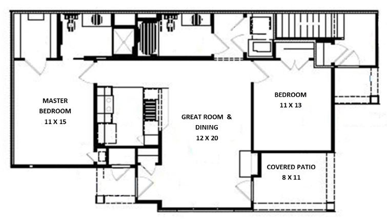 Green Wood Park Luxury Apartments & Townhomes - Floorplan - 2 Bed 2 Bath, Barbell Lower (B Unit)