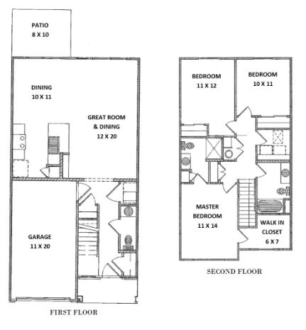Green Wood Park Townhouses and Apartments - Floorplan - 3 Bedroom 2.5 Bath (B Townhouse)